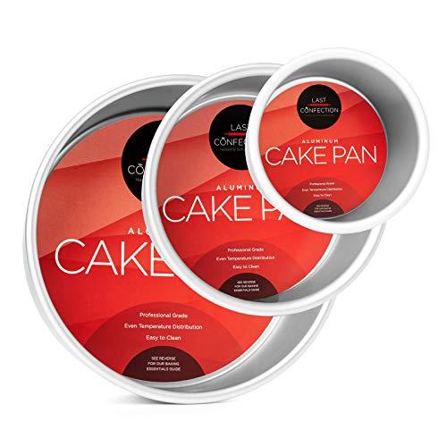 Last Confection 3-Piece Round Cake Pan Set - Includes 4, 6 and 8 Aluminum Pans 3 Deep