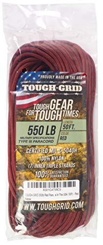 TOUGH-GRID 550lb Red Paracord/Parachute Cord - 100% Nylon Genuine Mil-Spec Type III Paracord Used by The US Military - Great for Bracelets and Lanyards - Made in The USA. 50Ft. - Red]()