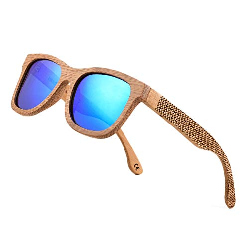 Bamboo Wood Polarized Sunglasses For Men & Women -Temple Carved Collection (TA04- Carbonized Bamboo Frame Blue Lens)
