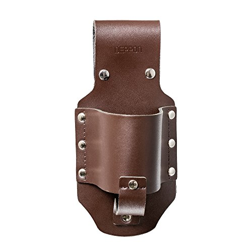 Deppon Cowboy Premium Leather Beer Beverage Holster for Traveling Hiking Camping Beach Barbeques (Brown)