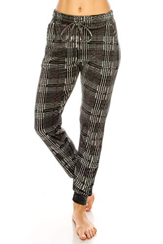 (ALWAYS Women Plaid Velvet Joggers - Premium Soft Velour Stretch Warm Winter Checkered Printed Patterned Sweatpants Pants SM Size)