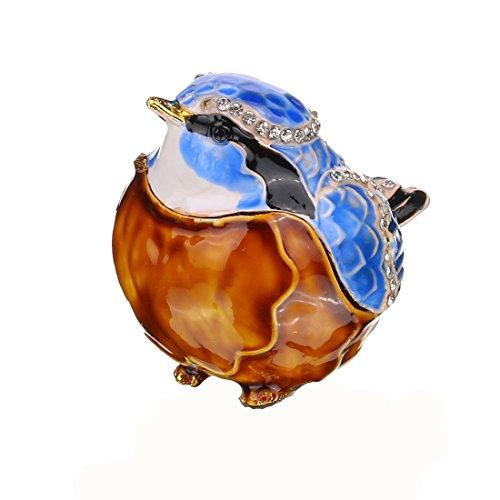 YU FENG Handmade Blue Cute Bird Crystal Metal Trinket Boxes Collectibles