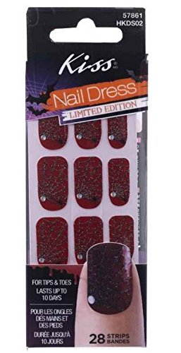 Kiss Nail Dress Halloween Red Spider Web Nail Stickers Limited Edition -
