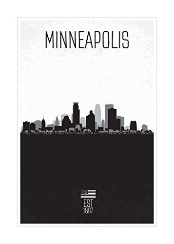 Minneapolis - Distressed Skyline Art - 16x24 Matte Poster Print Wall Art B&W