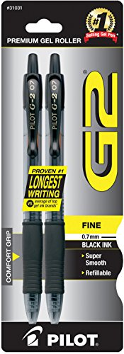 Pilot G2 Retractable Premium Gel Ink Roller Ball Pens, Fine Point, 2-Pack, Black Ink (31031)