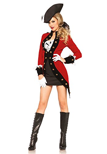 Leg Avenue Women's 4 Piece Rebel Red Coat Soldier Costume, Red/Black, Large