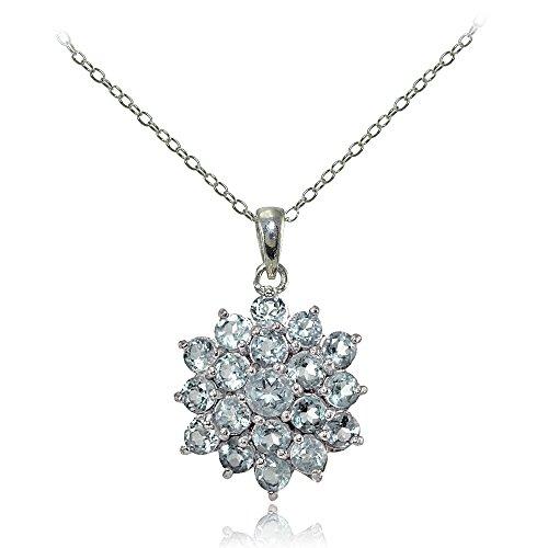 Sterling Silver Genuine Aquamarine Flower Necklace