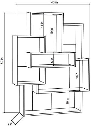 Ada Home D/écor DCRB2019 Bernard Bookcase Oak /& Anthracite 40 x 52 x 9