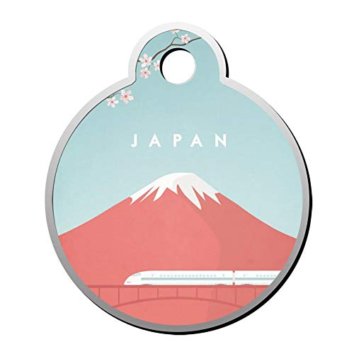 WWQE-42 Beautiful Japan Mount Fuji Double Sided Print Pet ID Dog Tag,Custom Pet Tag Pets Name & Contact Number Circular Shape Bullet Train Mount Fuji Japan