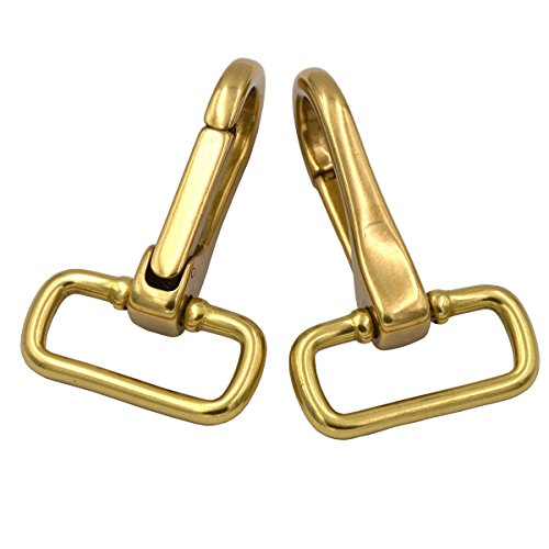 Okones Pack of 2Pcs,1'' Eye Inner Width,2.1 inch(54m) Length,Solid Brass Lobster Snap Lanyard Hook Lobster Claw Clasp Ring for Straps Bags Belting Leathercarft (1''Eye×2-4/9''OAL, BRA0059) by Okones Art