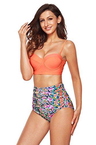 EasyMy Vintage Acanaló el Bikini del Bañador de Alta Cintura Multicolor