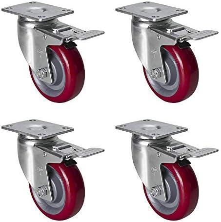 ZHYU 4個セット 直径Φ100mm ヘビーデューティー キャスタ ブレーキ付ウレタンキャスター 産業用キャスター 適応穴直径8mm 赤, 360度回転 総許容荷重450kg