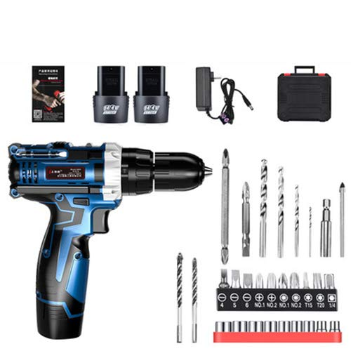FLB Cordless Drill Drive Electric Drill Electric Screwdriver, Rechargeable Two-Speed Adjustment with LED Lithium Battery Home Multi-Function Drill,impactdoublebattery