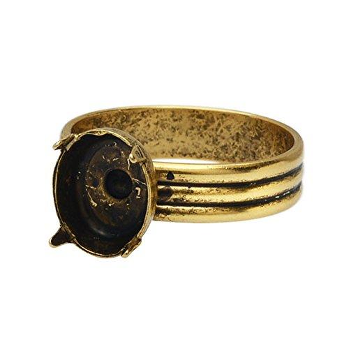 Prong Design (Nunn Design Adjustable Prong Setting Ring, Oval 7x9mm, 1 Ring, Antiqued Gold)