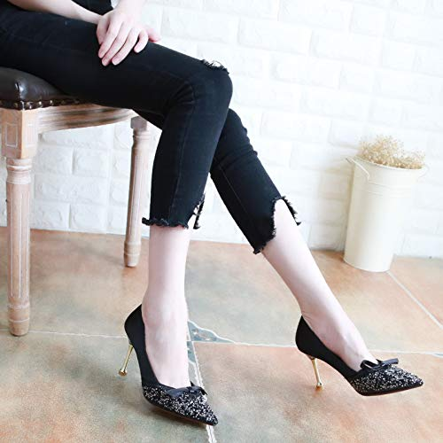 Shallow Elegant 8Cm Pointed Silk Bow Black High Seven Thirty Autumn Shoes Shoes Tie KPHY Heeled Ladies' Fine Shoes Ladies' Diamond 0YIqwZZ7