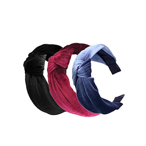 Pack of 3 Women and Girls Handmade Lovely Style Velvet cloth Cross Knot Hair Hoop Hairband Headband Headwear Hair Accessories by Beauty Hair (A(3pcs))