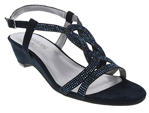 London Fog Womens Macey Demi-Wedge Dress Sandals Navy 8 M US