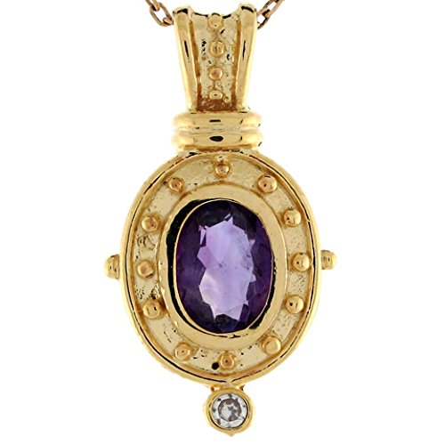 Jewelry Liquidation 14k Yellow Gold Amethyst Diamond Accent Pretty Etruscan 2.4cm Slide Pendant