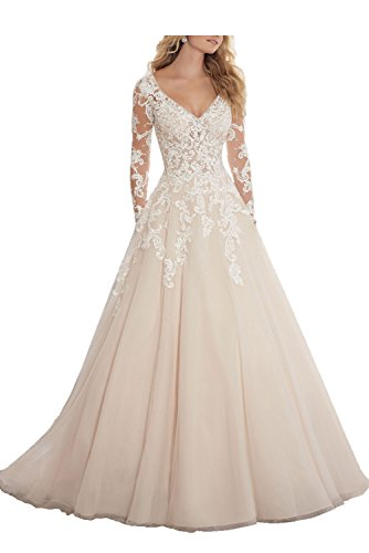 QueenDress-Womens-Applique-Lace-Backless-Long-Sleeve-Wedding-Dresses-Light-Champagne-US-14