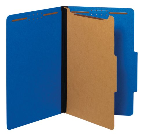 Globe-Weis/Pendaflex Colored Classification Folders, 2/5 Cut Tab, 1 Divider, Embedded Fasteners, Legal Size, Dark Blue, 10 Per Box (28732)