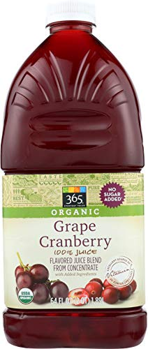 - 365 Everyday Value, Organic 100% Juice Flavored Juice Blend from Concentrate, Grape Cranberry, 64 fl oz