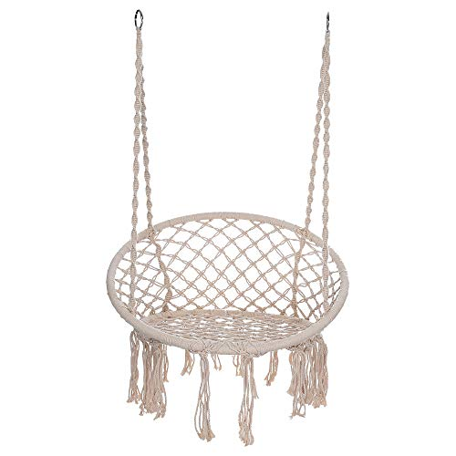 Hammock Chair Macrame Swing Hanging Cotton Rope Swing Chair for Indoor & Outdoor Home Garden Patio Balcony and More 300 Pounds Capacity Best Gift (Patios Best)