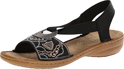 Rieker Women's 608B9 Regina B9 Black Sandal 39 (US Women's 8) M (Shoes Rieker)