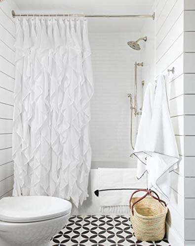 Volens White Ruffle Shower Curtain Farmhouse Fabric Cloth Shower Curtains for Bathroom, 72x72 in Long - WHITE SHOWER CURTAIN ❤️ Keep Privacy: No see through to provide a relax and private space, have your own space when you take a bath to enjoy yourself. The waterfall texture perfect to decor your farmhouse theme bathroom. FABRIC SHOWER CURTAIN ❤️ Quality Material: Made by 100% polyester to ensure quick dry and durability. Lightweight, soft touch and detailed workmanship, long service life. LONG SHOWER CURTAIN ❤️ Large Enough: It measures W71 x L71 inch, easy to fit most of bathrooms and tubs. Full coverage to spread around and prevent water from splashing onto the floor. - shower-curtains, bathroom-linens, bathroom - 41ipJHqj%2BsL -
