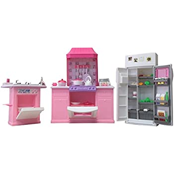 Amazon Com Barbie Size Dollhouse Furniture Kitchen Set