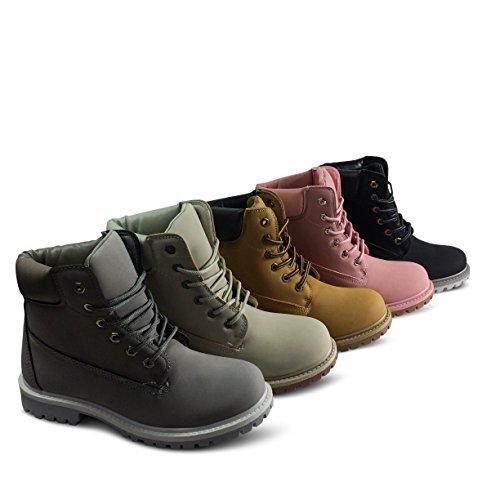 Damen Worker Boots Stiefeletten Stiefel Schnürboots Outdoor ST85 Schwarz