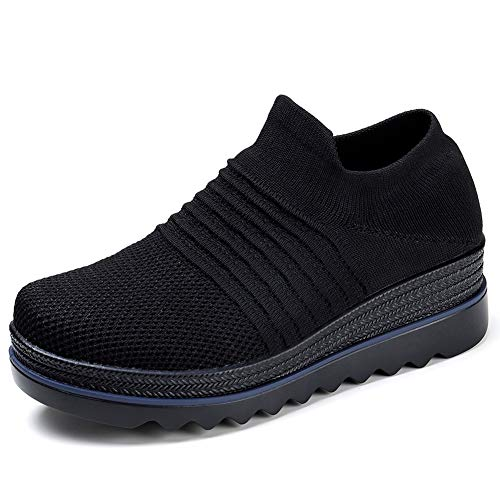 HKR Womens Platform Shoes Casual Loafers Slip On Mesh Knit Walking Sneakers Comfortable Work Shoes All Black 5.5 ()