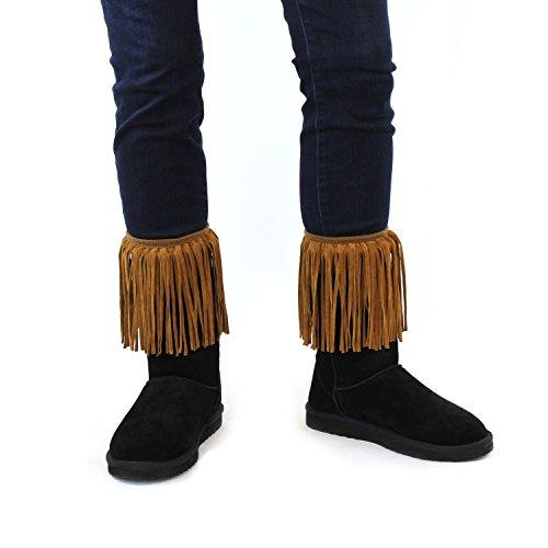 Camel Women's Faux Suede Fringe Boot Cuffs; Vintage Style Boutique Leg Warmers