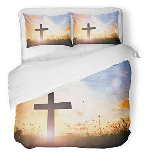 Emvency 3 Piece Duvet Cover Set Breathable Brushed Microfiber Fabric Easter for The Church Office Cross Symbol of Christian and Jesus Christ Good Friday Bedding Set with 2 Pillow Covers Twin Size