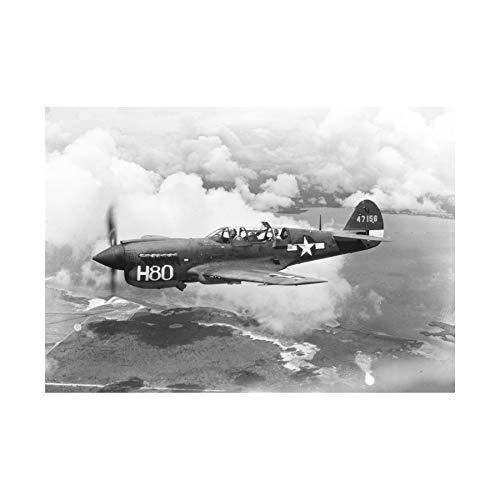 War Military Plane Vintage Fighter Jet Black White P-40 Wall Art Print 戦争軍隊飛行機ビンテージファイター壁