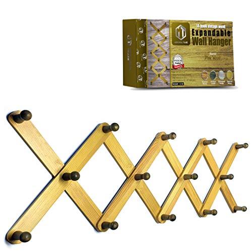 Mercurial Trade Expandable Wooden Coat Rack Hanger – Accordion Wall Mounted Pine Wood Hooks – Hand Made Vintage Expending Pegs – Hang Coat, Jacket, Hat, Leash, Towel, Scarf, Mug, Bag – Natural Wood