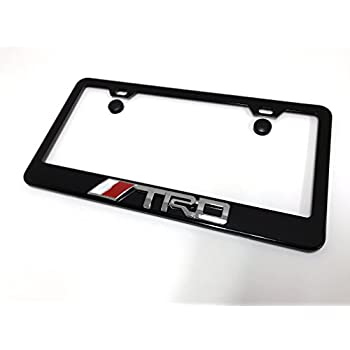 Nice 1pc 3D TRD Black Metal License Plate Frame With Screw Cap Covers