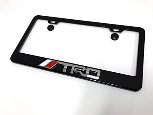 1pc 3D TRD Black Metal License Plate Frame with Screw Cap Covers