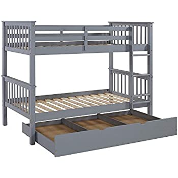 WE Furniture Solid Wood Only Trundle, Twin, Grey