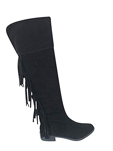 81bac89964 LADIES WOMENS FRINGE BOOTS KNEE HIGH HEELS ZIP FAUX SUEDE LEATHER SHOES  SIZE 3 4 5 6 7 8: Amazon.co.uk: Shoes & Bags