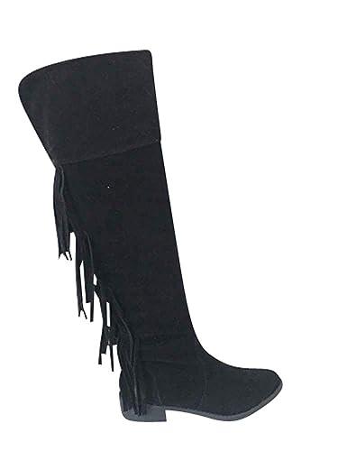 Damen Stiefel Knie High Heels Reißverschluss Fransen XZkPiuO