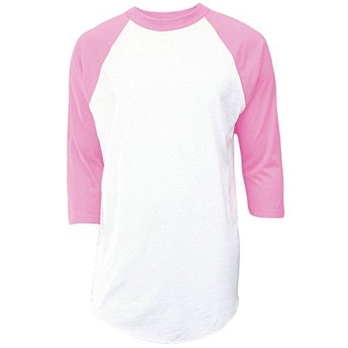 (Soffe Mens Classic Raglan 3/4 Sleeve T-Shirt White/Pink 2XL)