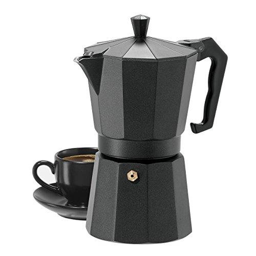 Oggi 6571.3 6 Cup Cast Aluminum Stovetop Espresso Maker, Black