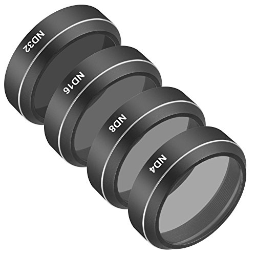 Neewer 4 Pieces Filter Kit for DJI Phantom 4 Pro Drone Quadcopter - ND4, ND8, ND16 and ND32 Filter, Made of Optical Glass, Aluminum Alloy Frame and Waterproof MRC 16-Layer Coating (Black)