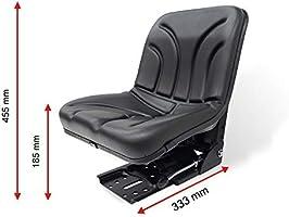 KlaraSeats Schleppersitz Traktorsitz KS 44//8 PVC Schwarz Schmalspur 390mm