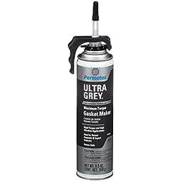 Permatex 85084 Ultra Grey Rigid High-Torque RTV Silicone Gasket Maker, 9.5 oz. PowerBead Can