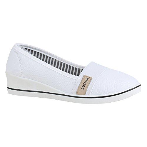 Stiefelparadies Damen Wedges Pumps Canvas Stoff Schuhe Keilabsatz Ballerinas Slip Ons Sportliche Kitten Heels Flandell Weiß