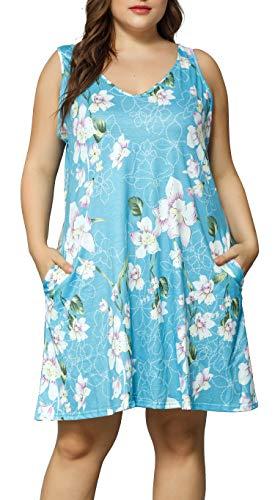 HBEYYTO Oversized Women Sleeveless Pocket Floral Print Tank Dresses Plus Size Casual Beach Cover up Sundress (Blue, 5X Plus)