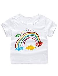 KONFA Cartoon Short Sleeve T-Shirt Tee for Teen Kids Toddler Baby Girls Boys Clothes Pullover Cotton Sweatshirt Blouse Tops
