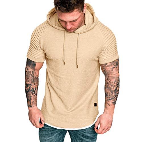 - iHPH7 T Shirts for Men tees Men Shirt Men in Men's Clothing Striped Fake Two-Piece fold M 2- Khaki