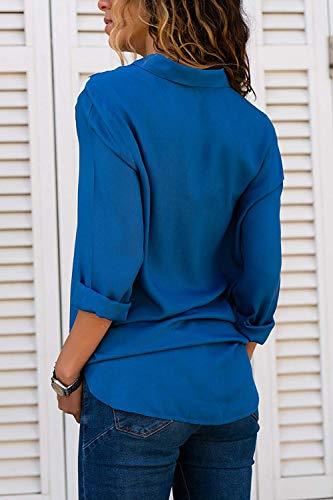 Longue Spcial Long Dame Elgante Haut Manches Large Branch Loisir BoBoLily Confortable Chemise Femme Blau Revers Style Manche Printemps Shirt Automne Blouse pzpqB5